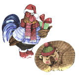 Σύμβολο χειμερινών διακοπών Χριστουγέννων σε ένα ύφος watercolor που απομονώνεται διανυσματική απεικόνιση