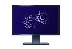 Σύμβολο cogwheels στον υπολογιστή LCD απεικόνιση αποθεμάτων
