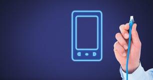 Σύνδεση καλωδίων εκμετάλλευσης χεριών με την τηλεφωνική συσκευή Στοκ εικόνα με δικαίωμα ελεύθερης χρήσης