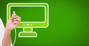 Σύνδεση καλωδίων εκμετάλλευσης χεριών με το εικονίδιο υπολογιστών Στοκ εικόνες με δικαίωμα ελεύθερης χρήσης