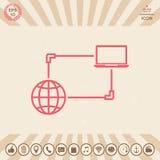 Σύνδεση στο Διαδίκτυο, ανταλλαγή στοιχείων, εικονίδιο έννοιας μεταφοράς Στοκ Εικόνες