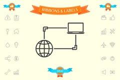 Σύνδεση στο Διαδίκτυο, ανταλλαγή στοιχείων, εικονίδιο έννοιας μεταφοράς απεικόνιση αποθεμάτων