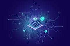 Σύνδεση στο Διαδίκτυο, τεχνητής νοημοσύνης αφηρημένη αίσθηση εικονιδίων AI isometric της επιστήμης και της τεχνολογίας, δωμάτιο κ απεικόνιση αποθεμάτων