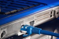 Σύνδεση στο συνδεμένο με καλώδιο δίκτυο υπολογιστών συνδετήρων rj45 Στοκ Φωτογραφία