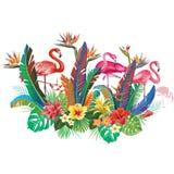 Σύνθεση από τα λουλούδια και Flamingoes Στοκ φωτογραφία με δικαίωμα ελεύθερης χρήσης