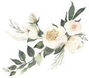 Σύνθεση γαμήλιων floral ανθοδεσμών Watercolor με τα άσπρα τριαντάφυλλα α απεικόνιση αποθεμάτων