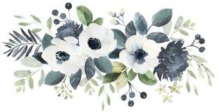 Σύνθεση γαμήλιων floral ανθοδεσμών Watercolor με το Μαύρο και το whi απεικόνιση αποθεμάτων