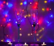Σύνθεση, γυαλιά και κεριά Χριστουγέννων Στοκ Εικόνες
