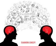Σύνθεση εικονιδίων έννοιας επιχειρησιακής ομαδικής εργασίας διανυσματική απεικόνιση