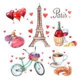 Σύνθεση εικονιδίων watercolor συμβόλων του Παρισιού απεικόνιση αποθεμάτων