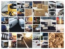 Σύνθεση κολάζ με τα φορτηγά και τα φορτηγά Έννοια της μεταφοράς και λογιστικός στοκ εικόνα με δικαίωμα ελεύθερης χρήσης