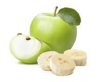 Σύνθεση κομματιών μπανανών της Apple που απομονώνεται στο άσπρο υπόβαθρο Στοκ Φωτογραφίες