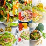 Σύνθεση κολάζ σαλάτας που τοποθετείται στο πλαίσιο Στοκ Εικόνες