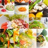 Σύνθεση κολάζ σαλάτας που τοποθετείται στο πλαίσιο Στοκ εικόνα με δικαίωμα ελεύθερης χρήσης