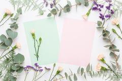 Σύνθεση λουλουδιών Κενό εγγράφου, λουλούδια γαρίφαλων, κλάδοι ευκαλύπτων στο υπόβαθρο κρητιδογραφιών Επίπεδος βάλτε, τοπ άποψη, α στοκ εικόνα με δικαίωμα ελεύθερης χρήσης