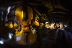 σύνθεση με ένα παλαιό βιολί στα σκοτεινά χρώματα στοκ εικόνα με δικαίωμα ελεύθερης χρήσης