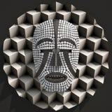Σύνθεση με αφρικανικό τρισδιάστατο μασκών woyo που διευκρινίζεται Στοκ Εικόνα