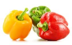 Σύνθεση με τα ανάμεικτα πιπέρια στο λευκό Στοκ Εικόνα