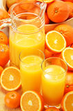 Σύνθεση με τα ποτήρια του χυμού από πορτοκάλι και των φρούτων Στοκ Εικόνες