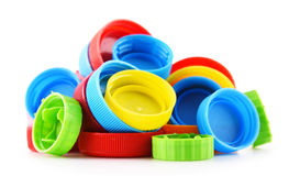 Σύνθεση με τα πλαστικά καλύμματα μπουκαλιών Στοκ Εικόνες