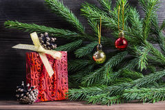 Σύνθεση με τις διακοσμήσεις Χριστουγέννων Στοκ φωτογραφίες με δικαίωμα ελεύθερης χρήσης