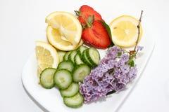 Σύνθεση με τις φέτες λεμονιών, τα αγγούρια, τη φράουλα και το ιώδες λουλούδι που απομονώνονται στο άσπρο υπόβαθρο με το διάστημα  Στοκ εικόνα με δικαίωμα ελεύθερης χρήσης