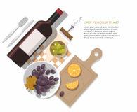 Σύνθεση μπουκαλιών, ελιών και σταφυλιών κρασιού στο άσπρο υπόβαθρο goblet δοκιμάζοντας κρασί χεριών διανυσματική απεικόνιση