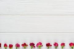 Σύνθεση λουλουδιών Ρόδινα τριαντάφυλλα στο άσπρο ξύλινο υπόβαθρο Στοκ εικόνα με δικαίωμα ελεύθερης χρήσης