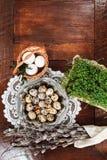 Σύνθεση Πάσχας των catkins, των αυγών και του κάρδαμου στον ξύλινο πίνακα Στοκ φωτογραφίες με δικαίωμα ελεύθερης χρήσης