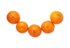 Σύνθεση πέντε juicy tangerines φρούτων που απομονώνεται Στοκ Φωτογραφία