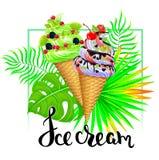 Σύνθεση παγωτού με τα τροπικά φύλλα διανυσματική απεικόνιση