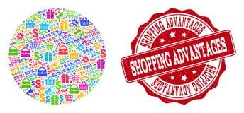Σύνθεση πλεονεκτημάτων αγορών του μωσαϊκού και της γρατσουνισμένης σφραγίδας για τις πωλήσεις διανυσματική απεικόνιση
