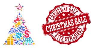 Σύνθεση πώλησης Χριστουγέννων του μωσαϊκού και του γρατσουνισμένου γραμματοσήμου για τις πωλήσεις διανυσματική απεικόνιση