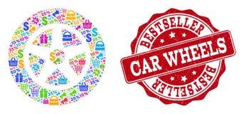 Σύνθεση ροδών αυτοκινήτων του μωσαϊκού και της γρατσουνισμένης σφραγίδας για τις πωλήσεις διανυσματική απεικόνιση