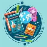 Σύνθεση στο θέμα του σχολείου με τα βιβλία, το χαρτοφύλακα, τη σφαίρα και τα χαρτικά Στοκ Εικόνες