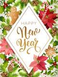 Σύνθεση σχεδίου καλής χρονιάς του poinsettia, των κλάδων έλατου, των κώνων, του μελοψώματος, του καλάμου καραμελών, του ελαιόπριν διανυσματική απεικόνιση