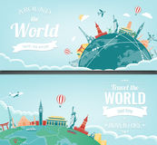 Σύνθεση ταξιδιού με τα διάσημα παγκόσμια ορόσημα Ταξίδι και τουρισμός Πρότυπο ιστοχώρου έννοιας διάνυσμα Σύγχρονο επίπεδο σχέδιο διανυσματική απεικόνιση