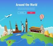 Σύνθεση ταξιδιού με τα διάσημα παγκόσμια ορόσημα Ταξίδι και τουρισμός Πρότυπο ιστοχώρου έννοιας επίσης corel σύρετε το διάνυσμα α απεικόνιση αποθεμάτων