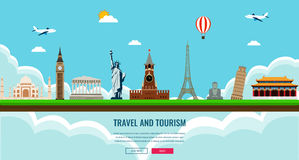 Σύνθεση ταξιδιού με τα διάσημα παγκόσμια ορόσημα Ταξίδι και τουρισμός Πρότυπο ιστοχώρου έννοιας επίσης corel σύρετε το διάνυσμα α ελεύθερη απεικόνιση δικαιώματος