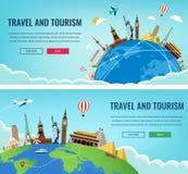 Σύνθεση ταξιδιού με τα διάσημα παγκόσμια ορόσημα Ταξίδι και τουρισμός Πρότυπο ιστοχώρου έννοιας επίσης corel σύρετε το διάνυσμα α διανυσματική απεικόνιση