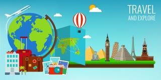 Σύνθεση ταξιδιού με τα διάσημα παγκόσμια ορόσημα Ταξίδι και τουρισμός Πρότυπο ιστοχώρου έννοιας διάνυσμα ελεύθερη απεικόνιση δικαιώματος