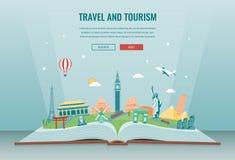 Σύνθεση ταξιδιού με τα διάσημα παγκόσμια ορόσημα Ταξίδι και τουρισμός Πρότυπο ιστοχώρου έννοιας διάνυσμα απεικόνιση αποθεμάτων