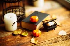 Σύνθεση του διακοσμητικών κρανίου, της κολοκύθας, των κεριών και των διακοσμήσεων αποκριών στον ξύλινο πίνακα, στο σκοτεινό υπόβα Στοκ εικόνα με δικαίωμα ελεύθερης χρήσης