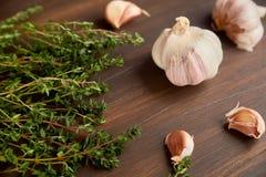 Σύνθεση του σκόρδου και tyme Φρέσκα πράσινα γαρίφαλα θυμαριού και σκόρδου Στοκ Φωτογραφίες