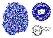 Σύνθεση τρόπων ταχυδρομείου του χάρτη μωσαϊκών του νησιού Nevis και των γρατσουνισμένων σφραγίδων ελεύθερη απεικόνιση δικαιώματος