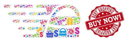 Σύνθεση τσαντών αγορών του μωσαϊκού και της κατασκευασμένης σφραγίδας για τις πωλήσεις διανυσματική απεικόνιση