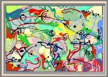 Σύνθεση των αφηρημένων ζωηρόχρωμων μορφών, πράσινος, κόκκινος, μαύρων, στο άσπρο υπόβαθρο 17 -268 Στοκ Εικόνα