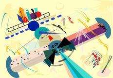 Σύνθεση των αφηρημένων ζωηρόχρωμων μορφών, τυποποιημένο αεροπλάνο, στο ελαφρύ μπεζ υπόβαθρο Expressionism ύφος τέχνης 18-21 Στοκ Εικόνα