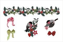 Σύνθεση των εγκαταστάσεων Χριστουγέννων και bullfinches διανυσματική απεικόνιση