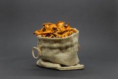 Σύνθεση των ξηρών κίτρινων chanterelles μανιταριών που τοποθετούνται στην τσάντα καμβά στην γκρίζα επιφάνεια υποβάθρου στοκ φωτογραφία